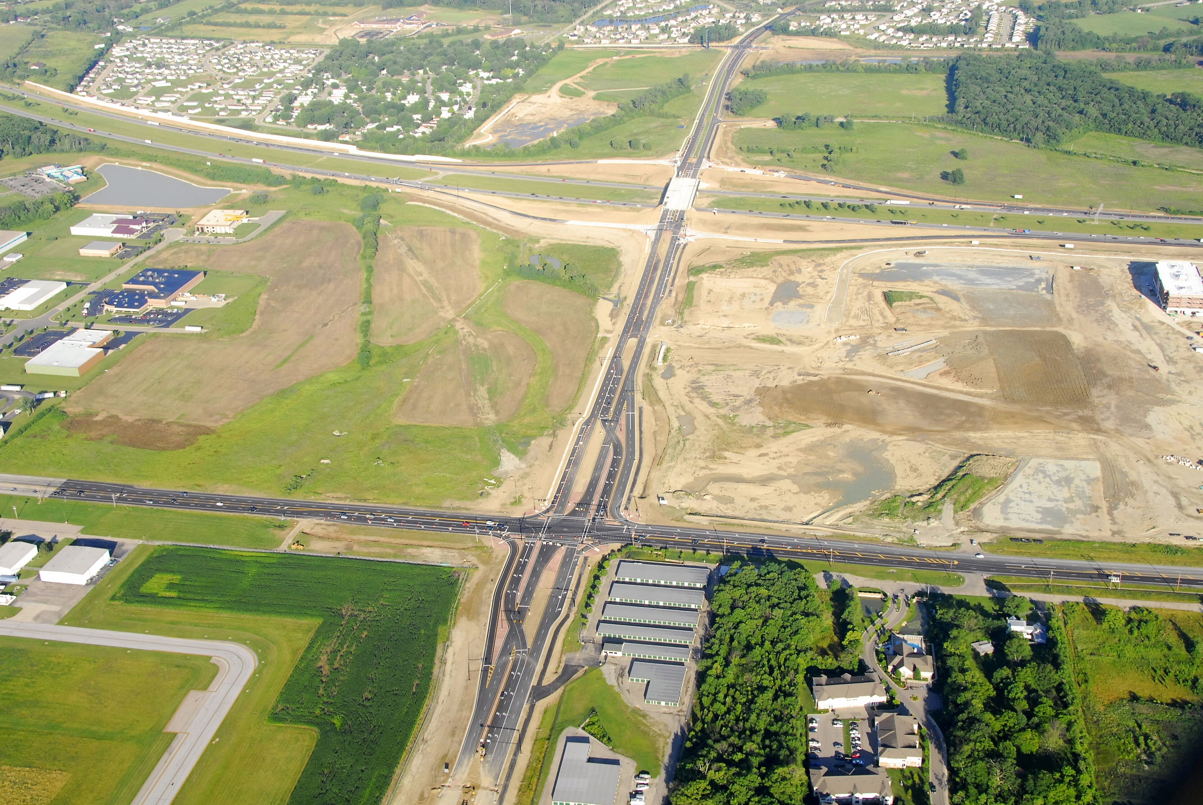 Continuous flow intersection at Austin Pike/I-75 (Dayton, OH). BCS, LLC provided right-of-way plan development for this innovative solution to traffic flow problems.